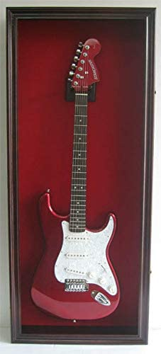 Electric Bass Guitar Display Case with Mahogany Finish
