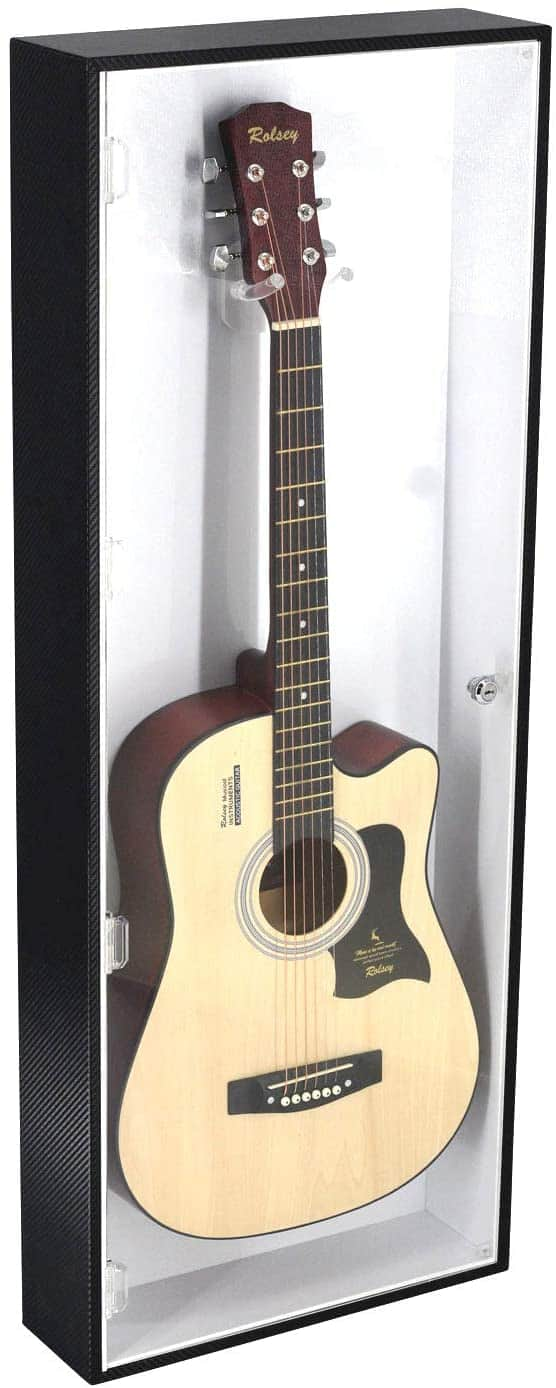 Electric Guitar Display Case Rack Hanger Holder Wall Mount Cabinet with Lock UV Protection Acrylic. Black Frame White Background